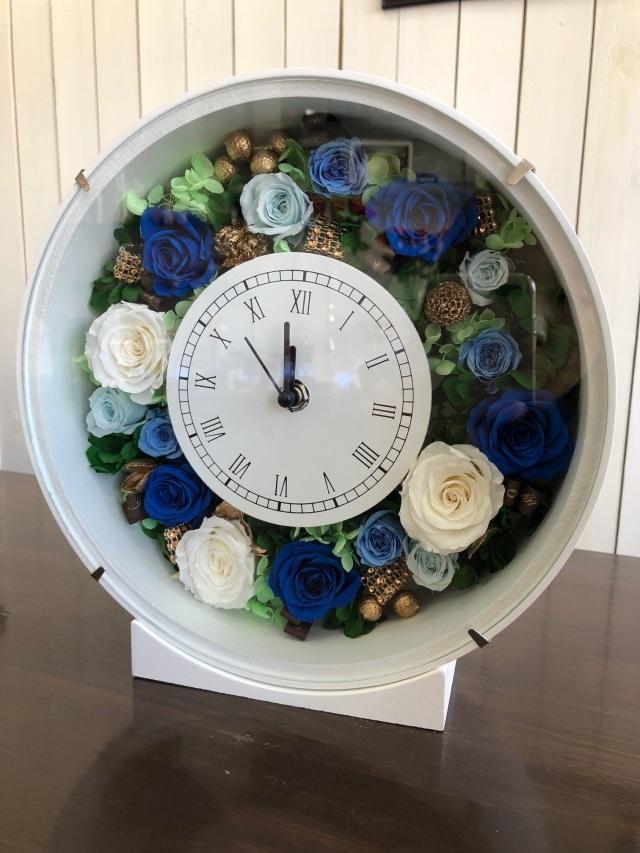 池袋 プリザーブドフラワー専門店 フラワーショップリズカの花時計 ブルー
