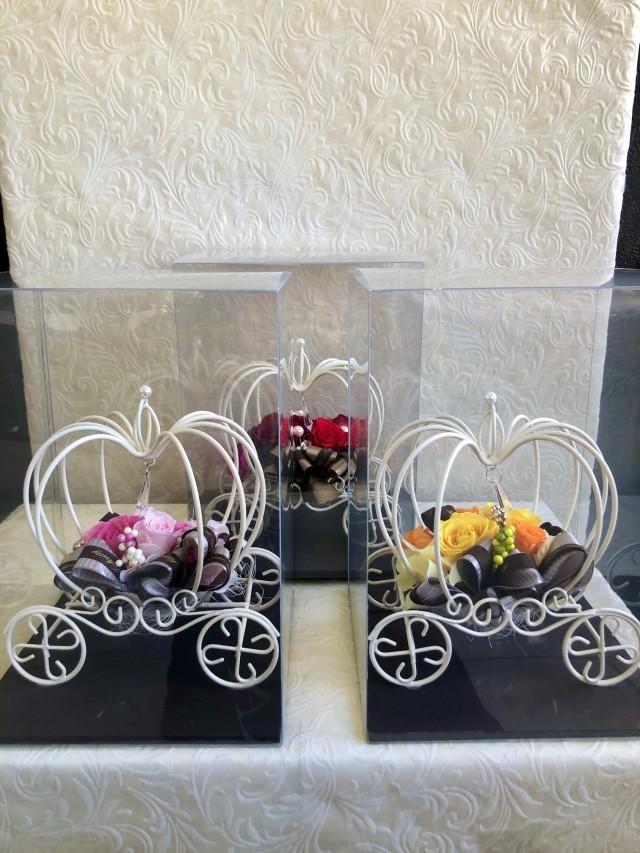 池袋 プリザーブドフラワー専門店 フラワーショップリズカ かぼちゃの馬車 シンデレラ レッド・ピンク・オレンジ
