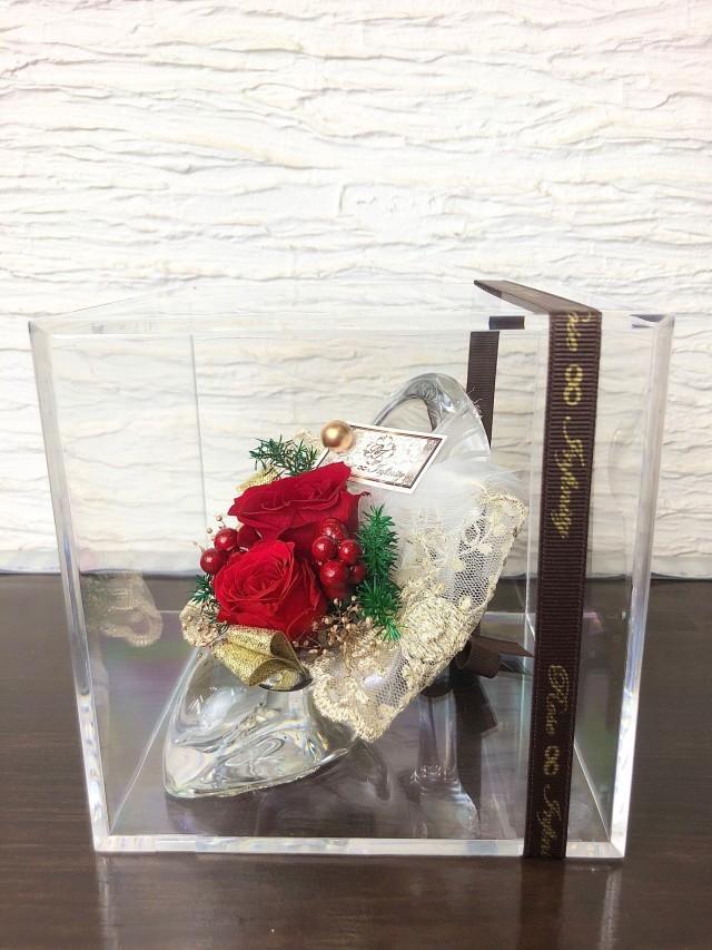 池袋 プリザーブドフラワー専門店 フラワーショップリズカ クリスマス限定 ガラスの靴 シンデレラ 赤バラ 美女と野獣