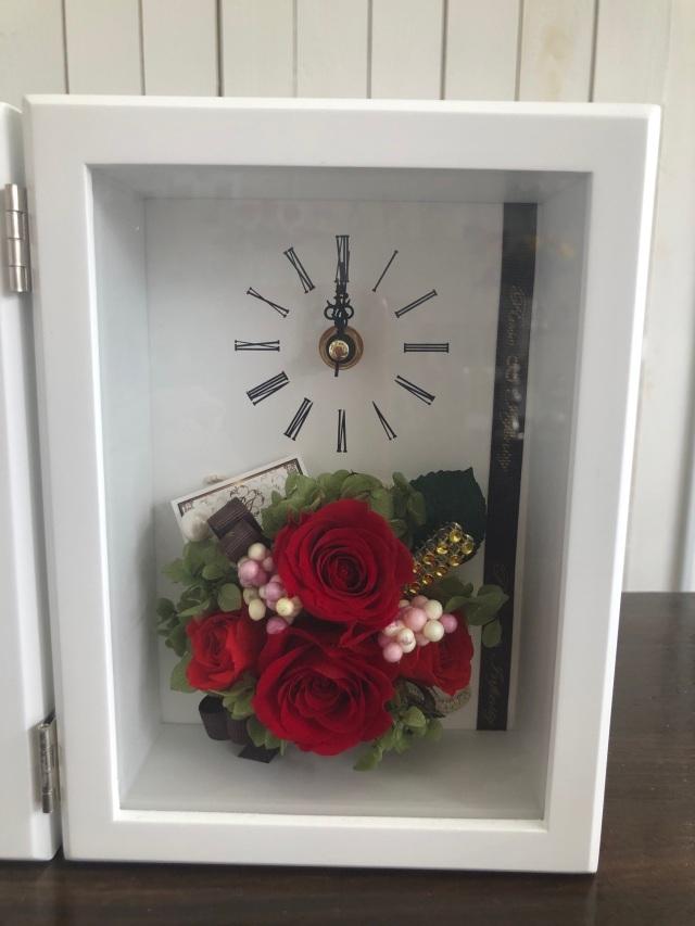 池袋 プリザーブドフラワー専門店 フラワーショップリズカ フォトフレーム 写真立て 人気 フォト 結婚祝 販売 時計