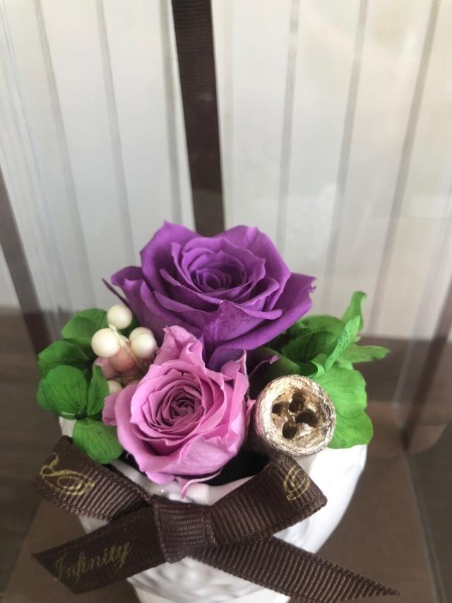 池袋プリザーブドフラワー専門店フラワーショップリズカレースプリザーブドフラワーSパープル紫バラ