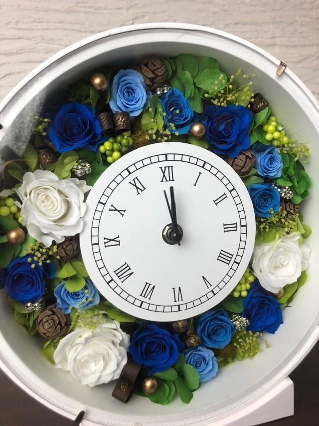 池袋 プリザーブドフラワー専門店 フラワーショップリズカ 壁掛けお花の時計 ブルー 青バラ