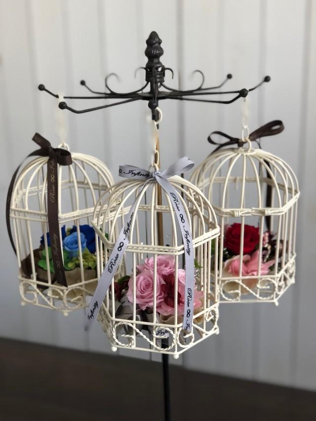 池袋プリザーブドフラワー専門店フラワーショップリズカゆらゆら鳥カゴのプリザーブドフラワー(バラタイプ)