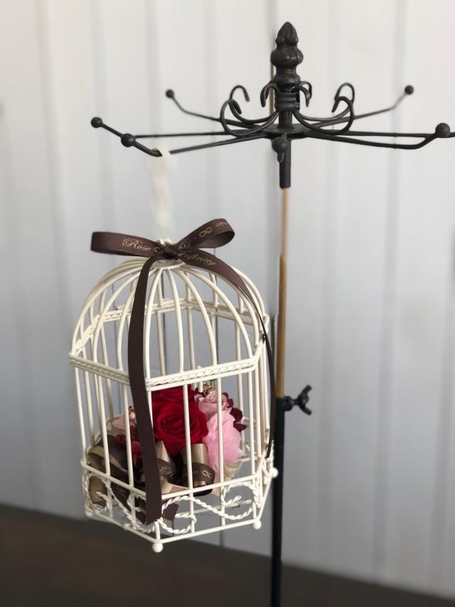 池袋プリザーブドフラワー専門店フラワーショップリズカゆらゆら鳥カゴのプリザーブドフラワー(バラタイプ) レッド