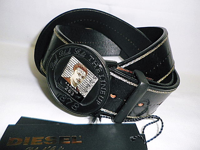DIESEL BLACK GOLD(ディーゼル ブラック ゴールド) メタルプレートバックルレザーベルト(黒)00CCGK正規品 85/90/95