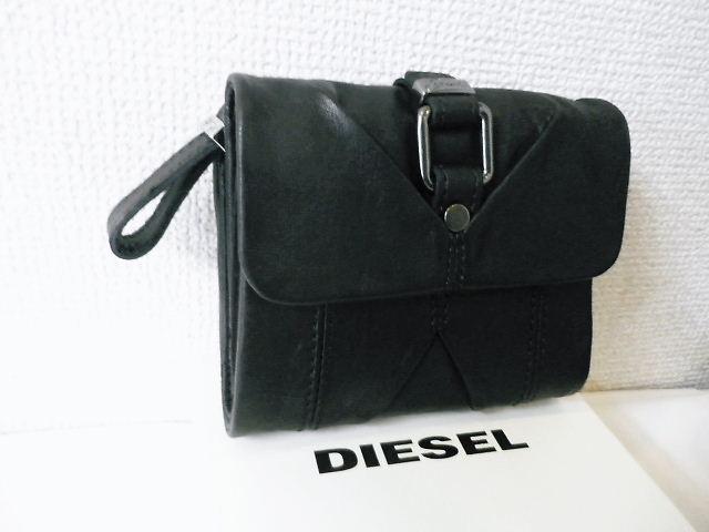 『特別価格』 DIESEL(ディーゼル) シープレザー折りたたみ財布/ウォレット(ブラック)正規品00XT12PS142 ユニセックス