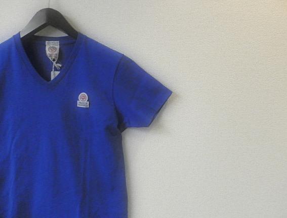 FRANKLIN&MARSHALL(フランクリン&マーシャル) ワンポイントVネック半袖Tシャツ (ブルー) S/M