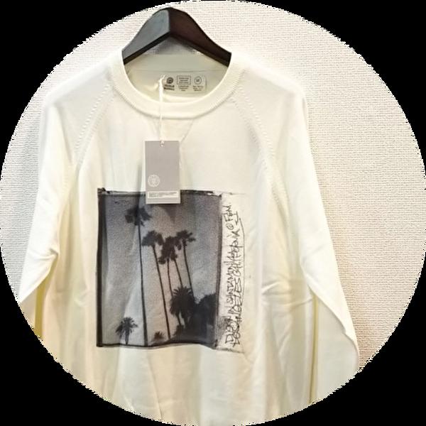 【大幅プライスダウン!プレミアムタイムセール!】 FRANKLIN&MARSHALL(フランクリン&マーシャル) フォトプリントデザインスプリングニット/長袖Tシャツ (ホワイト) XS/S/M  【23100円】