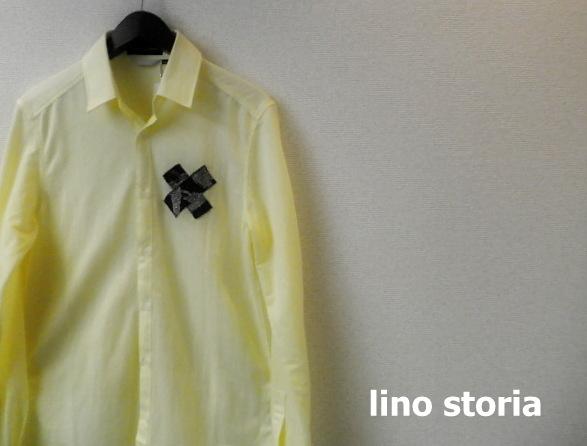 【リノストーリア プレミアムタイムセール!】 lino storia(リノストーリア) Xデザインストレッチシャツ/長袖シャツ (イエロー) M/L