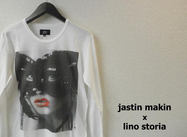 lino storia x jastin makin 仮面女性フォト長袖Tシャツ/プリントロンT (ホワイト) S/M/L/XL