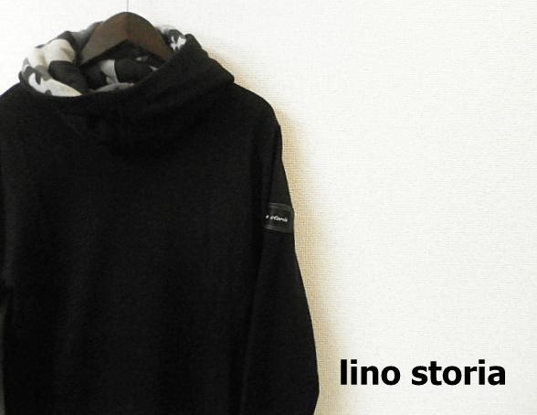 lino storia (リノストーリア) パンチングレザーエンブレムオフスタンドニットプルパーカ/カモフラ柄パーカ (ブラック) M/L