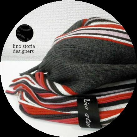 【50%オフ!期間限定特価!】【プレミアムウィンターセール!】 lino storia(リノストーリア) ストライプデザインマフラー(レッド) ユニセックス/イタリア製