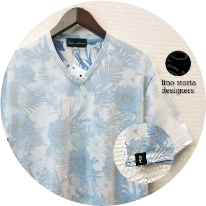 lino storia(リノストーリア) ボタニカル総柄裏地デザインVネック半袖Tシャツ (サックス) M/L/XL