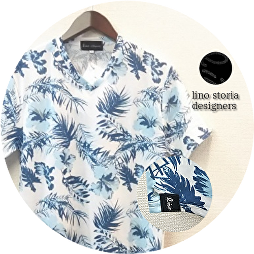 lino storia(リノストーリア) ボタニカル総柄Vネック半袖Tシャツ (ホワイトxブルー) M/L