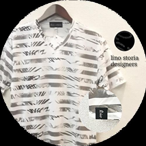 lino storia(リノストーリア) ボタニカル総柄ボーダーVネック半袖Tシャツ (ホワイトxグレー) M/L