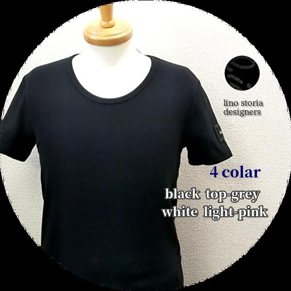 【SUMMER SALE 2021】 【人気No.1シリーズ】 lino storia(リノ ストーリア) レザーエンブレムスリムフィット針抜きUネック半袖Tシャツ 4 colar(ブラック/トップグレー/ホワイト/ライトピンク) M/L/XL