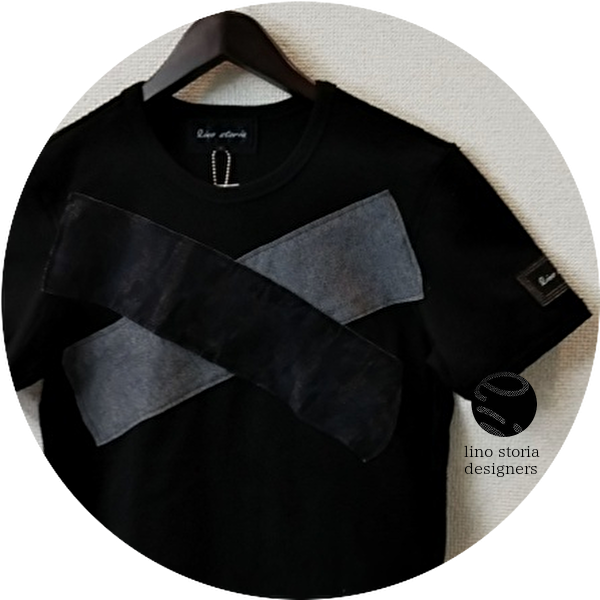 【SUMMER SALE 2021】 lino storia(リノストーリア) モノトーンカモフラ Xデザインカットオフ半袖Tシャツ(ブラック) M/L 【限定品】