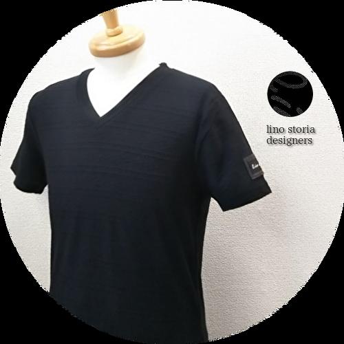 【大幅プライスダウン!プレミアムタイムセール!】【超人気シリーズ新作】 lino storia(リノストーリア) 型押しレザーエンブレムジャガード織柄デザインVネック半袖Tシャツ (ブラック) M/L 【限定品】
