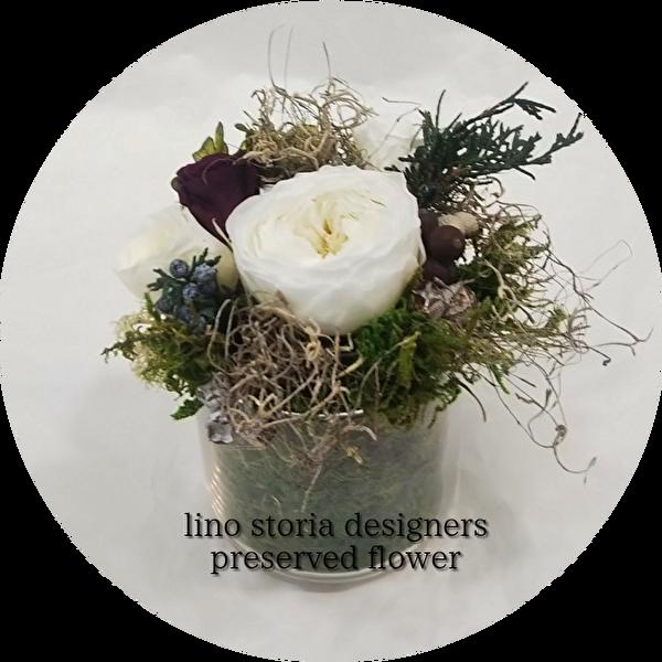 【特別価格】 lino storia designer's preserved flower(リノストーリア デザイナーズ プリザーブドフラワー    花器ガラス/専用クリアケースBOX付  プレゼント 贈り物に♪