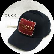 【特別価格】 GUCCI(グッチ) パッチロゴデザインベースボールキャップ/コットンキャップ (ブラック) M/L ユニセックス