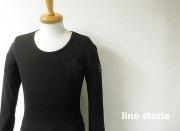 【プレミアムタイムセール!】 lino storia(リノ ストーリア) ネイビーカモフラスター サーマルUネック長袖Tシャツ (ブラック) M/L/XL 『限定品』