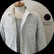 lino storia(リノストーリア) ホリゾンタルカラー長袖シャツ/コットンリネンシャツ (ホワイト) M/L/XL