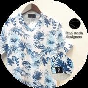 【プレミアムサマーセール!】 lino storia(リノストーリア) ボタニカル総柄Vネック半袖Tシャツ (ホワイトxブルー) M/L