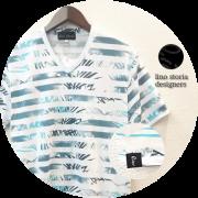【プレミアムサマーセール!】 lino storia(リノストーリア) ボタニカル総柄ボーダーVネック半袖Tシャツ (ホワイトxブルー) M/L