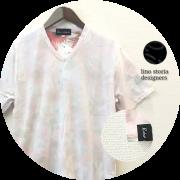 【プレミアムサマーセール!】 lino storia(リノストーリア) ボタニカル総柄裏地デザインVネック半袖Tシャツ (ライトピンク) M/L/XL