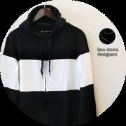 lino storia(リノ ストーリア) バイカラースリムフィットストレッチダブルジップパーカ 2 colar(ブラックxホワイト/ネイビーxホワイト) M/L/XL