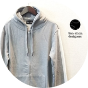lino storia(リノ ストーリア) スリーブラインバイカラースリムフィットストレッチダブルジップパーカ (グレーxホワイト) M/L/XL