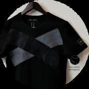 lino storia(リノストーリア) モノトーンカモフラ Xデザインカットオフ半袖Tシャツ(ブラック) M/L 【限定品】