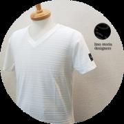 【大幅プライスダウン!プレミアムタイムセール!】【超人気シリーズ新作】 lino storia(リノストーリア) 型押しレザーエンブレムジャガード織柄デザインVネック半袖Tシャツ (ホワイト) M/L 【限定品】