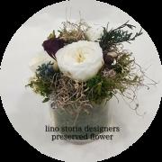 【特別価格】 lino storia designer's preserved flower(リノストーリア デザイナーズ プリザーブドフラワー  | 花器ガラス/専用クリアケースBOX付| プレゼント 贈り物に♪