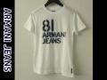 『特別価格』 ARMANI JEANS(アルマーニジーンズ) スリムフィット半袖プリントTシャツ(ホワイト) S/M/L