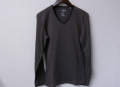 『特別価格』 d-fy(ディーエフワイ) コードラインVネックトリム長袖Tシャツ 2color (グレー/ブラック) M/L
