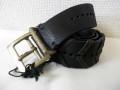 DIESEL BLACK GOLD(ディーゼル ブラック ゴールド) ヴィンテージ加工レザーベルト(ブラック) 00CKQV正規品 85/90