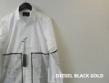 DIESEL BLACK GOLD (ディーゼルブラックゴールド) ロングスリーブドレスシャツ/長袖プリントシャツ (ホワイト) 44/46/48 正規品
