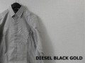 DIESEL BLACK GOLD (ディーゼルブラックゴールド) 切替デザインドレスシャツ/ストライプ長袖シャツ (ホワイトxパープル) 44/46 正規品