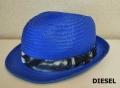 【プレミアムサマーセール!】 DIESEL(ディーゼル) 中折れハット/ペーパーハット/麦わら帽子 (ブルー) サイズ/2/3 男女兼用/ユニセックス