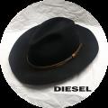 DIESEL(ディーゼル) レザーベルトデザイン中折れハット/フェルトハット/帽子(ブラック) 男女兼用