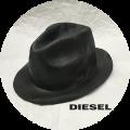 DIESEL(ディーゼル) ヴィンテージコーティング加工中折れハット/帽子(ブラック) 男女兼用