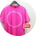 【CLEARANCE SUMMER SALE 2021】 DIESEL (ディーゼル) タイダイ染めプリント半袖Tシャツ(ピンク)  S/M/L 【8,580円】