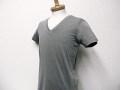『特別価格』 EMPORIO ARMANI(エンポリオアルマーニ) Vネックデザイン半袖Tシャツ(グレー) S/M