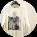 【PREMIUM TIME SALE】 FRANKLIN&MARSHALL(フランクリン&マーシャル) フォトプリントデザインスプリングニット/長袖Tシャツ (ホワイト) XS/S/M/L  【23100円】