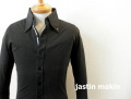 『特別価格』  jastin makin (ジャスティンメイキン) x RLISP スリムフィットラインデザインストレッチ長袖シャツ (ブラック) M/L