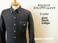 『特別価格』  jastin makin (ジャスティンメイキン) x RLISP スリムフィットストレッチデニム長袖シャツ 3 colar (グレー/ブラック/インディゴ) M/L