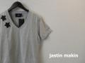 【プレミアムサマーセール!】 jastin makin (ジャスティンメイキン) x RLISP スターデザインVネック半袖Tシャツ (グレー) M/L