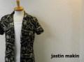 jastin makin (ジャスティンメイキン) x RLISP  総柄アロハ半袖ストレッチカットシャツ(ブラック) M/L
