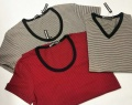 【最終値下げ!大処分価格!】【プレミアムサマーセール!】 d-fy(ディーエフワイ) ピンボーダーUネック/Vネック半袖Tシャツ 2 colar  (ホワイト/レッド) M/L